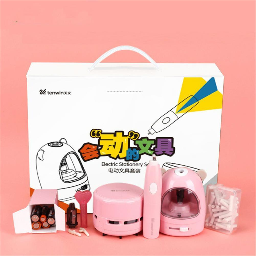 pencil-sharpener 10win 8087 3pcs/set Electric Pencil Sharpener Stationery Set Mini Vacuum Cleaner Electric Eraser Cartoon Kids Learning Kit Box Boy Girls HOB1710114 1 1