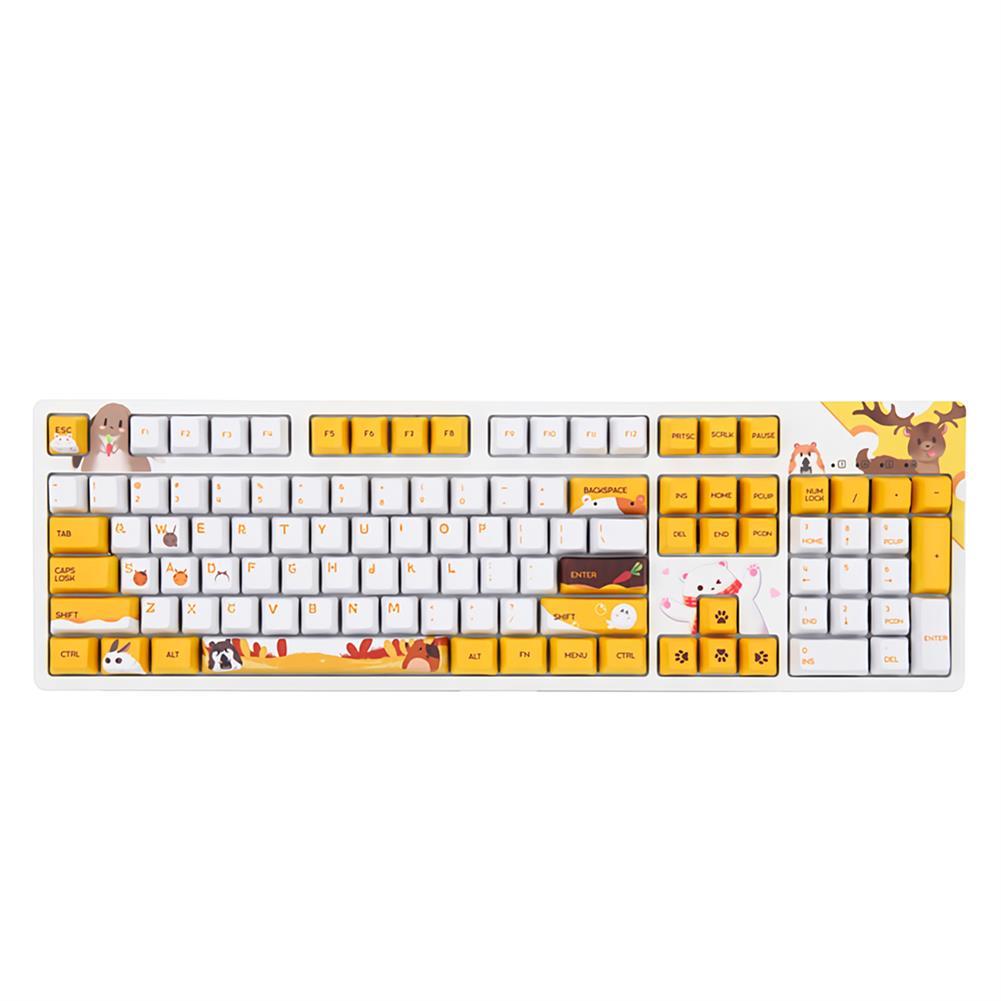 mechanical-gaming-keyboard AJAZZ 104 Keys Wired Mechanical Keyboard Cute Animals Pattern Cherry Switch OEM Profile PBT Keycaps office Gaming Keyboard HOB1711847 1