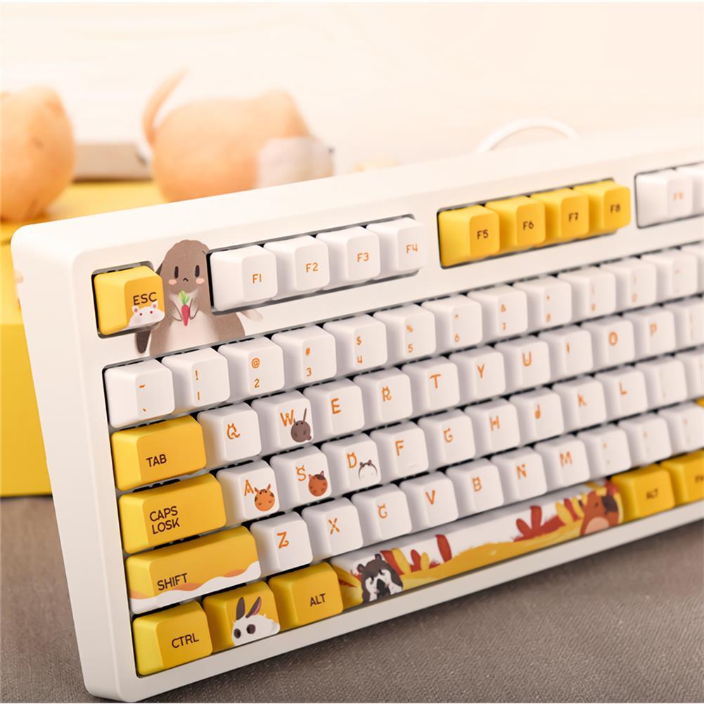 mechanical-gaming-keyboard AJAZZ 104 Keys Wired Mechanical Keyboard Cute Animals Pattern Cherry Switch OEM Profile PBT Keycaps office Gaming Keyboard HOB1711847 1 1