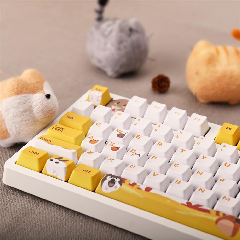 mechanical-gaming-keyboard AJAZZ 104 Keys Wired Mechanical Keyboard Cute Animals Pattern Cherry Switch OEM Profile PBT Keycaps office Gaming Keyboard HOB1711847 2 1