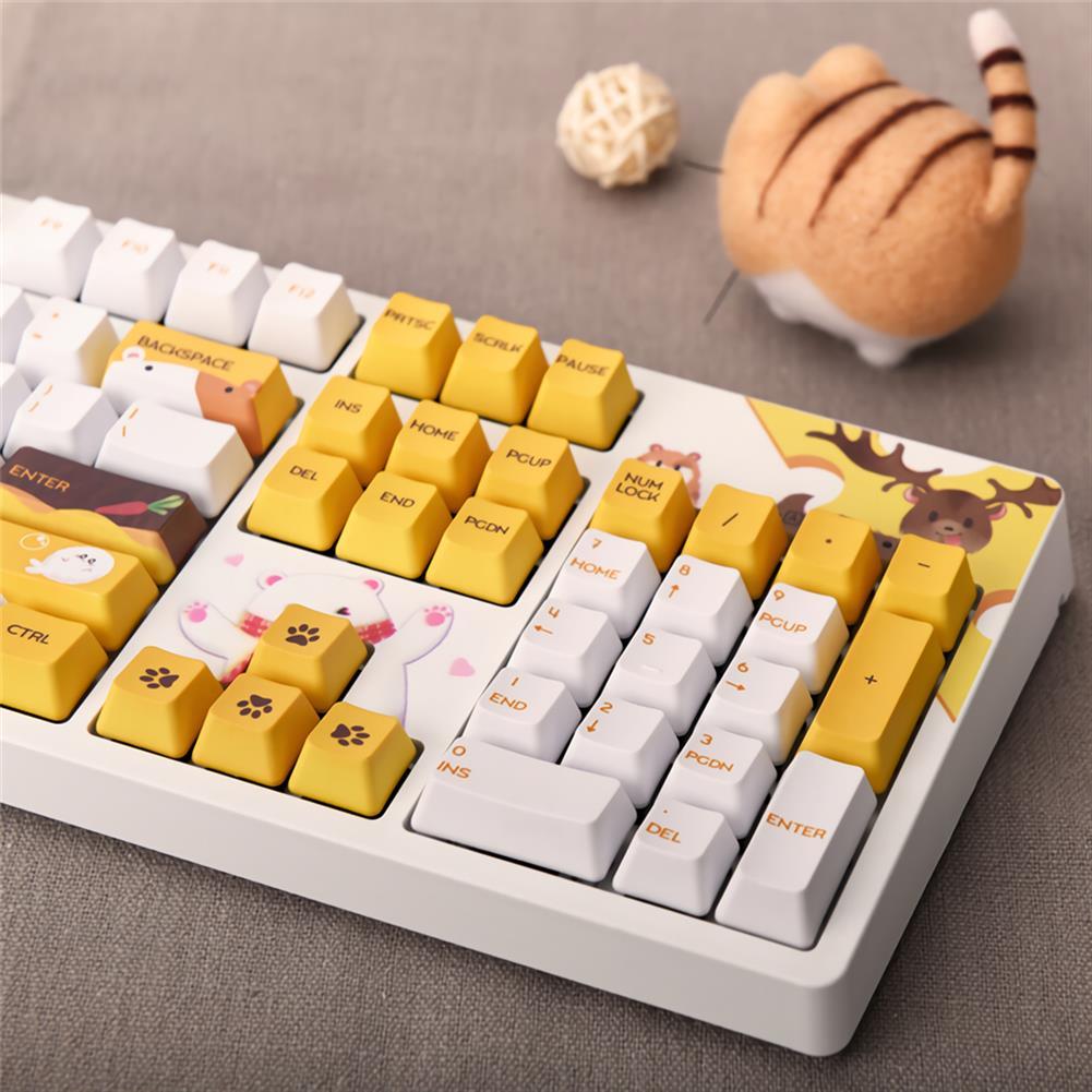 mechanical-gaming-keyboard AJAZZ 104 Keys Wired Mechanical Keyboard Cute Animals Pattern Cherry Switch OEM Profile PBT Keycaps office Gaming Keyboard HOB1711847 3 1