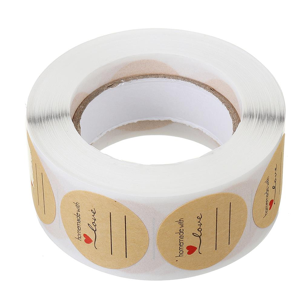 labels 500pcs/roll 1 inch Label DIY Round Kraft Label Handmade with Love Label Stickers Adhesive Sticker Packaging Gift Roll Tape HOB1712165 1 1