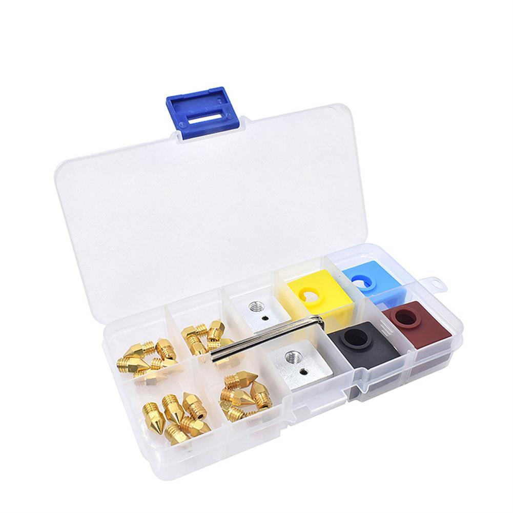 3d-printer-accessories 0.2mm+0.3mm+0.4mm+0.5mm Nozzle + Extruder Block + Silicone Case Box Set for 3D Printer Part HOB1712292 1