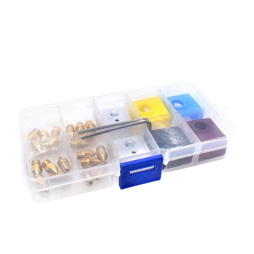 3d-printer-accessories 0.2mm+0.3mm+0.4mm+0.5mm Nozzle + Extruder Block + Silicone Case Box Set for 3D Printer Part HOB1712292 1 1