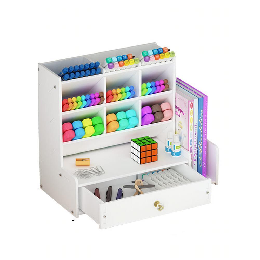 pen-holders, filing B02-1 Pen Storage Box Multifunctional Chinese Style Plastic Drawer Study Storage Box office Home Desk Use HOB1712544 1