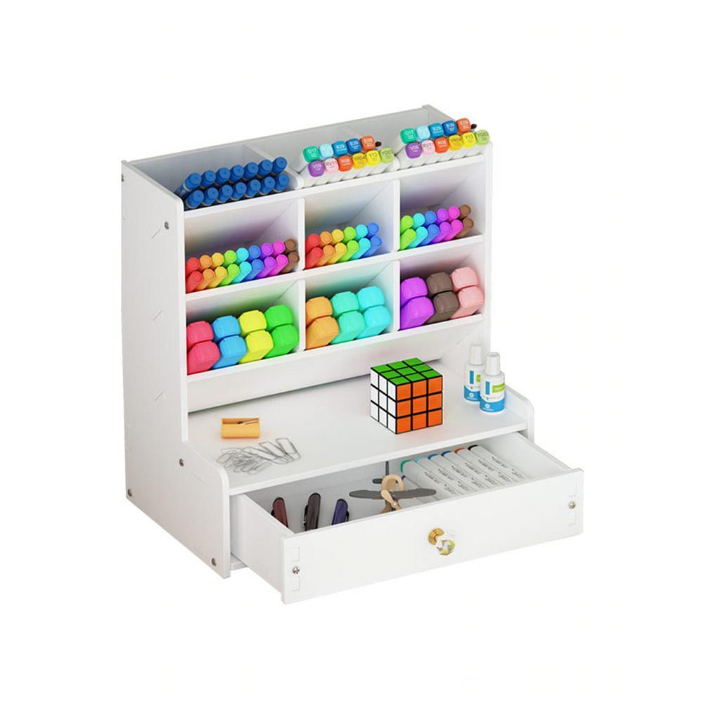 pen-holders, filing B02-1 Pen Storage Box Multifunctional Chinese Style Plastic Drawer Study Storage Box office Home Desk Use HOB1712544 1 1