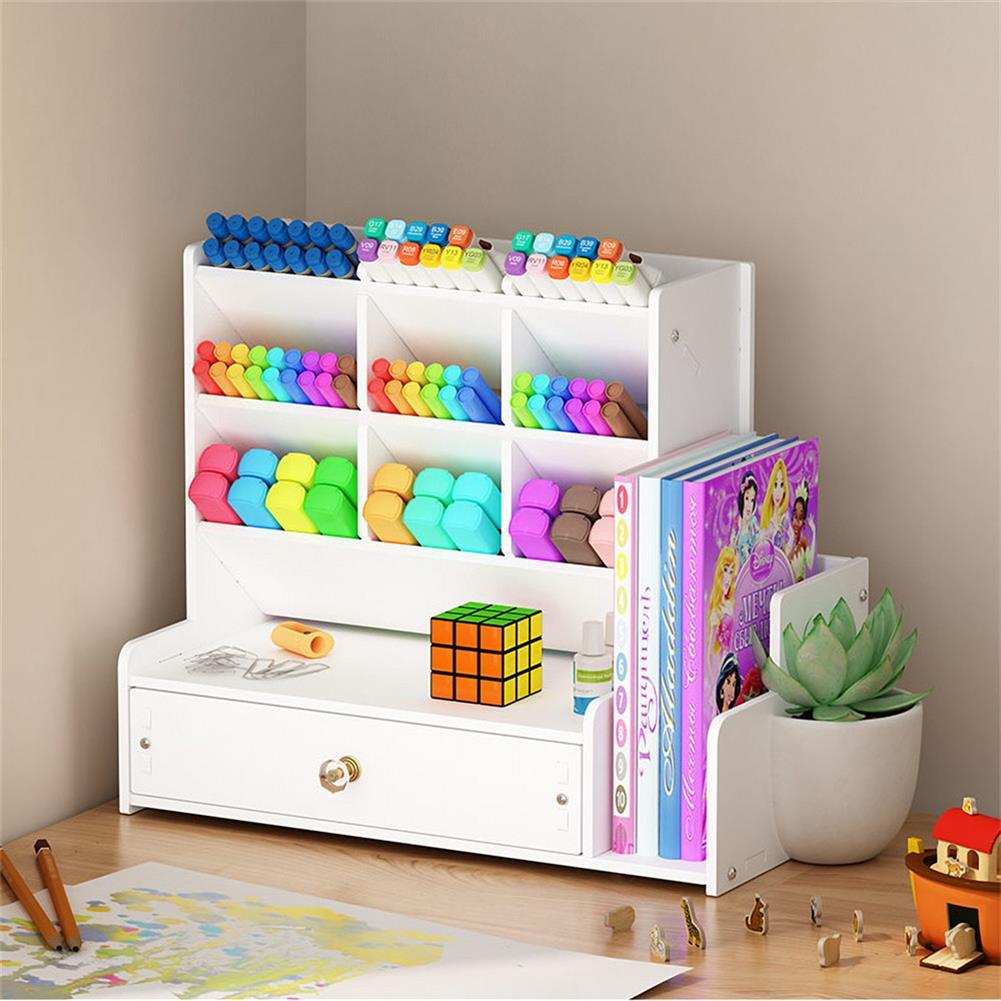 pen-holders, filing B02-1 Pen Storage Box Multifunctional Chinese Style Plastic Drawer Study Storage Box office Home Desk Use HOB1712544 3 1
