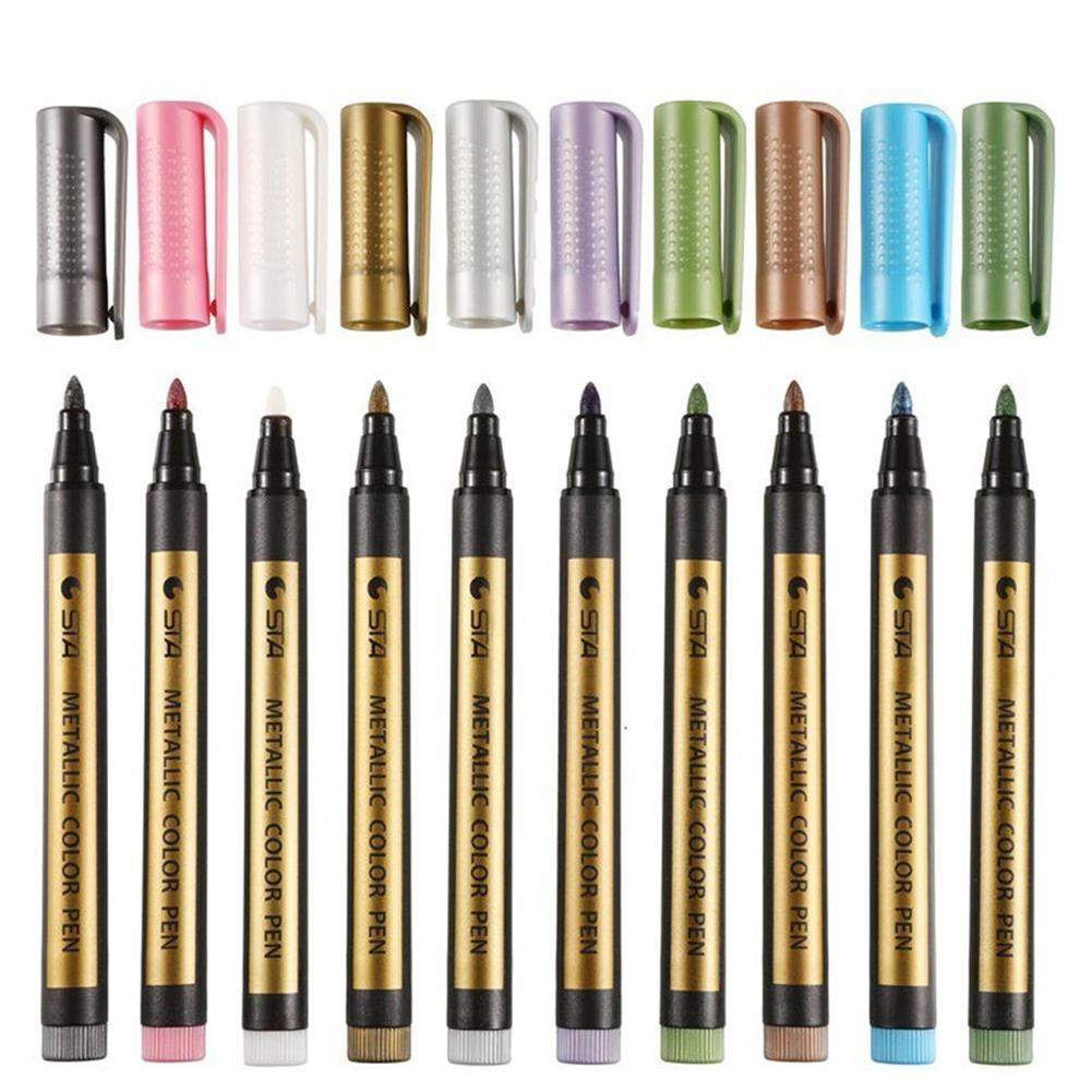 marker Touchlecai 8151 Markers Brush Pen 10 Colors Metallic School Art Supplies Permanent Marker for CD Ceramic Glass Plastic HOB1713073 1