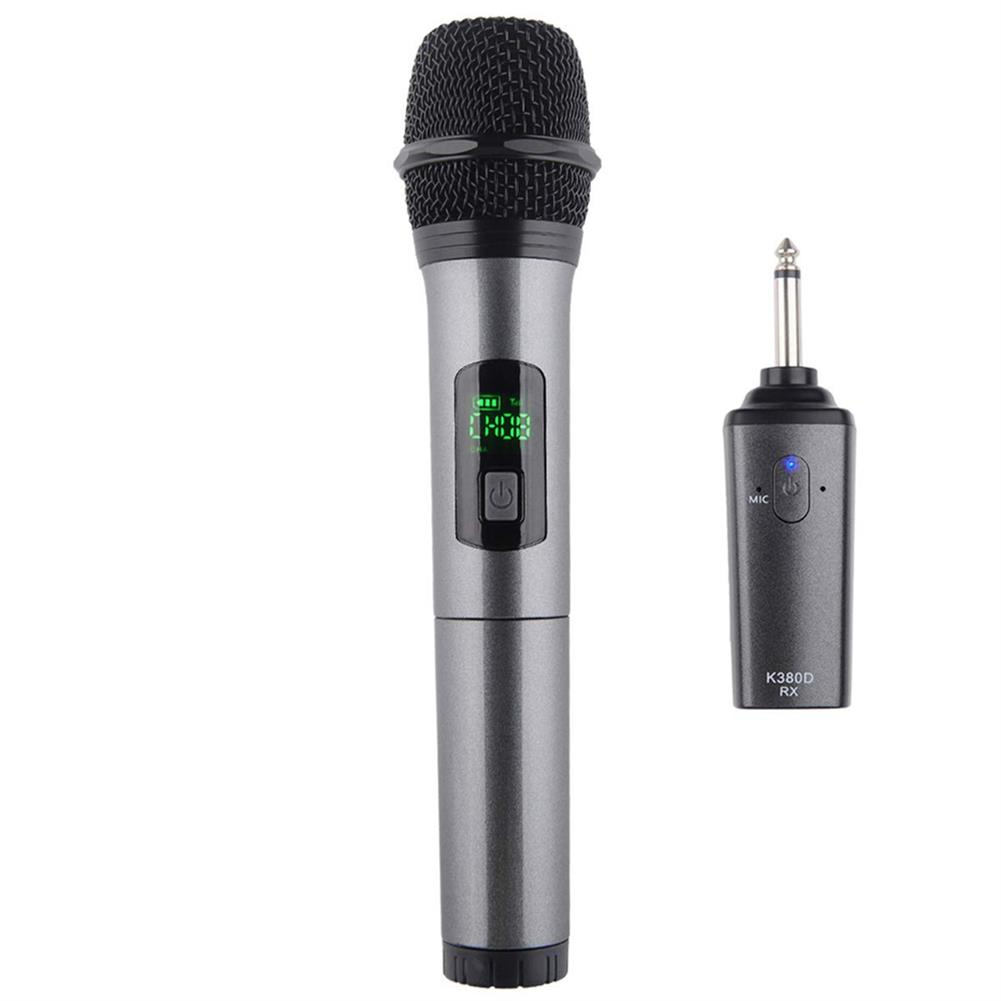 microphones-microphones-headphones K380D Microphone Professional Handheld Wireless UHF Microphone System with Portable Receiver 1/4'' Output Karaoke Receiver System HOB1713873 1 1