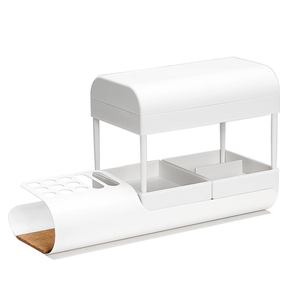 desktop-off-surface-shelves office Stationery Desktop Storage Box Minimalist Multi-Layer Organizer Pen Holder Storage Container Cosmetic Storage Rack HOB1715685 1