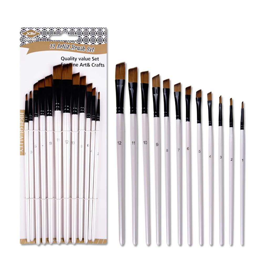 brush 12PCS/Set Artist Paint Brushes Set Oil Watercolour Painting Craft Art Stationery School Students Art Supplies HOB1717459 1