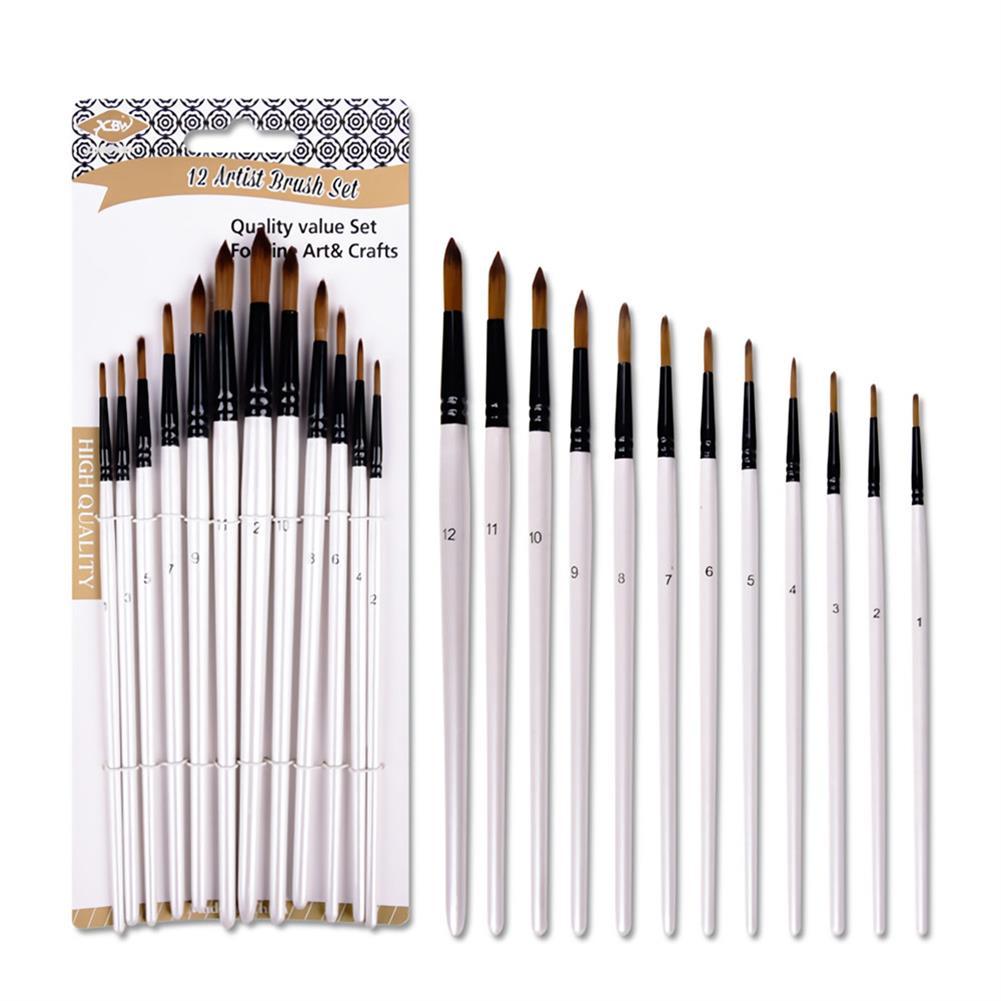 brush 12PCS/Set Artist Paint Brushes Set Oil Watercolour Painting Craft Art Stationery School Students Art Supplies HOB1717459 2 1