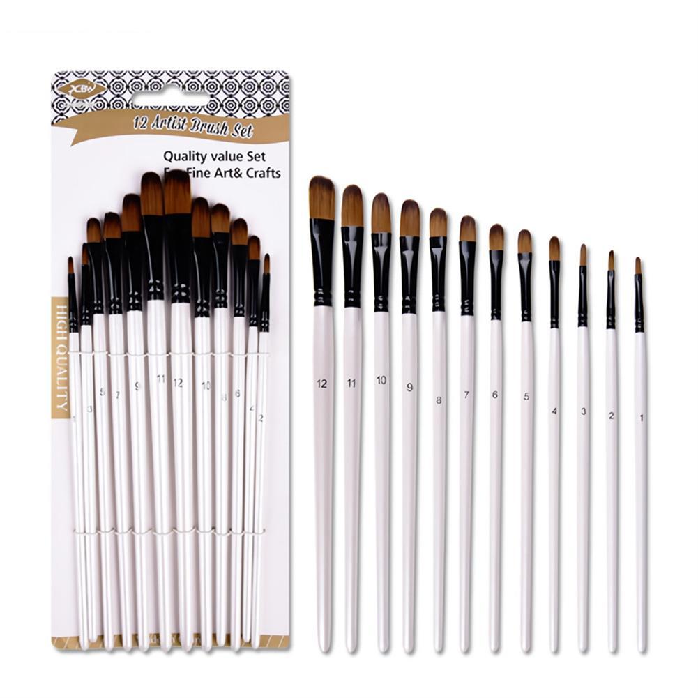 brush 12PCS/Set Artist Paint Brushes Set Oil Watercolour Painting Craft Art Stationery School Students Art Supplies HOB1717459 3 1