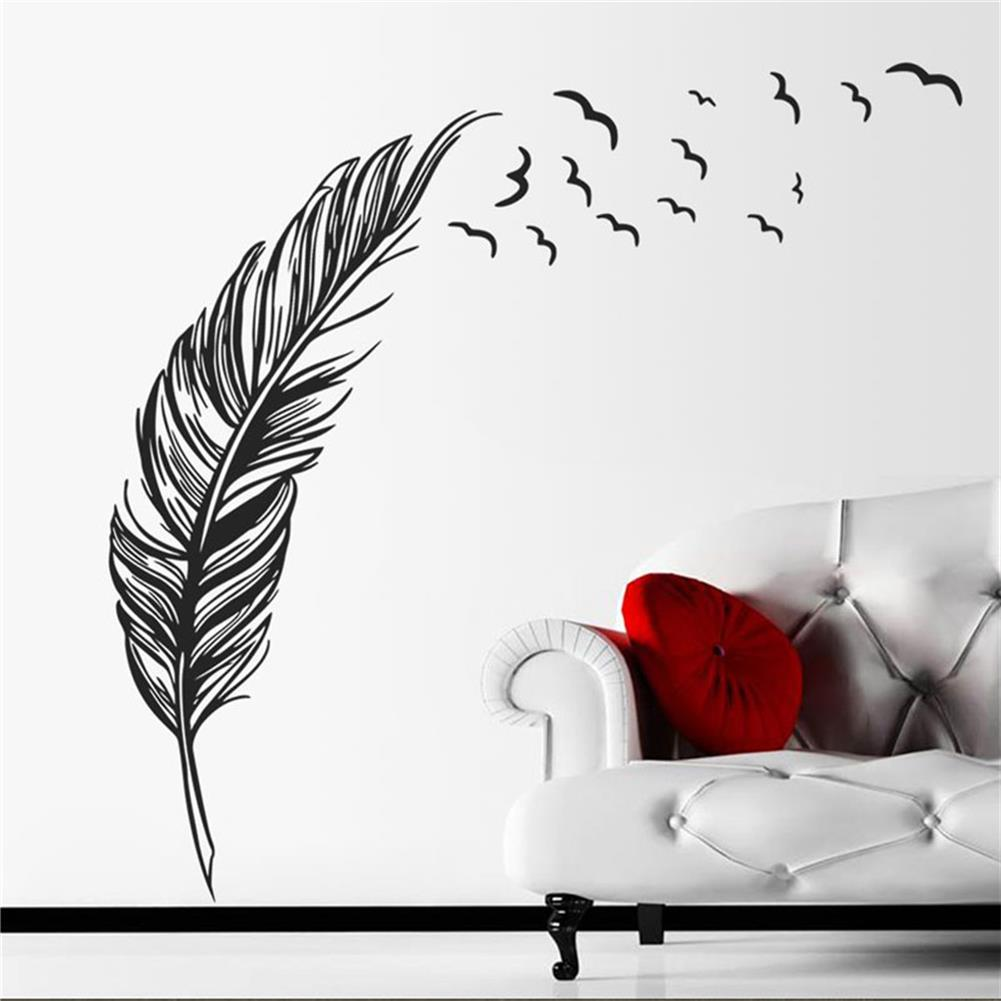 paper-notebooks DIY Modern Plume Feather Wall Sticker Birds Flying Feather Removable Wall Sticker Vinyl Mural Painting for Home Living Room HOB1717772 1