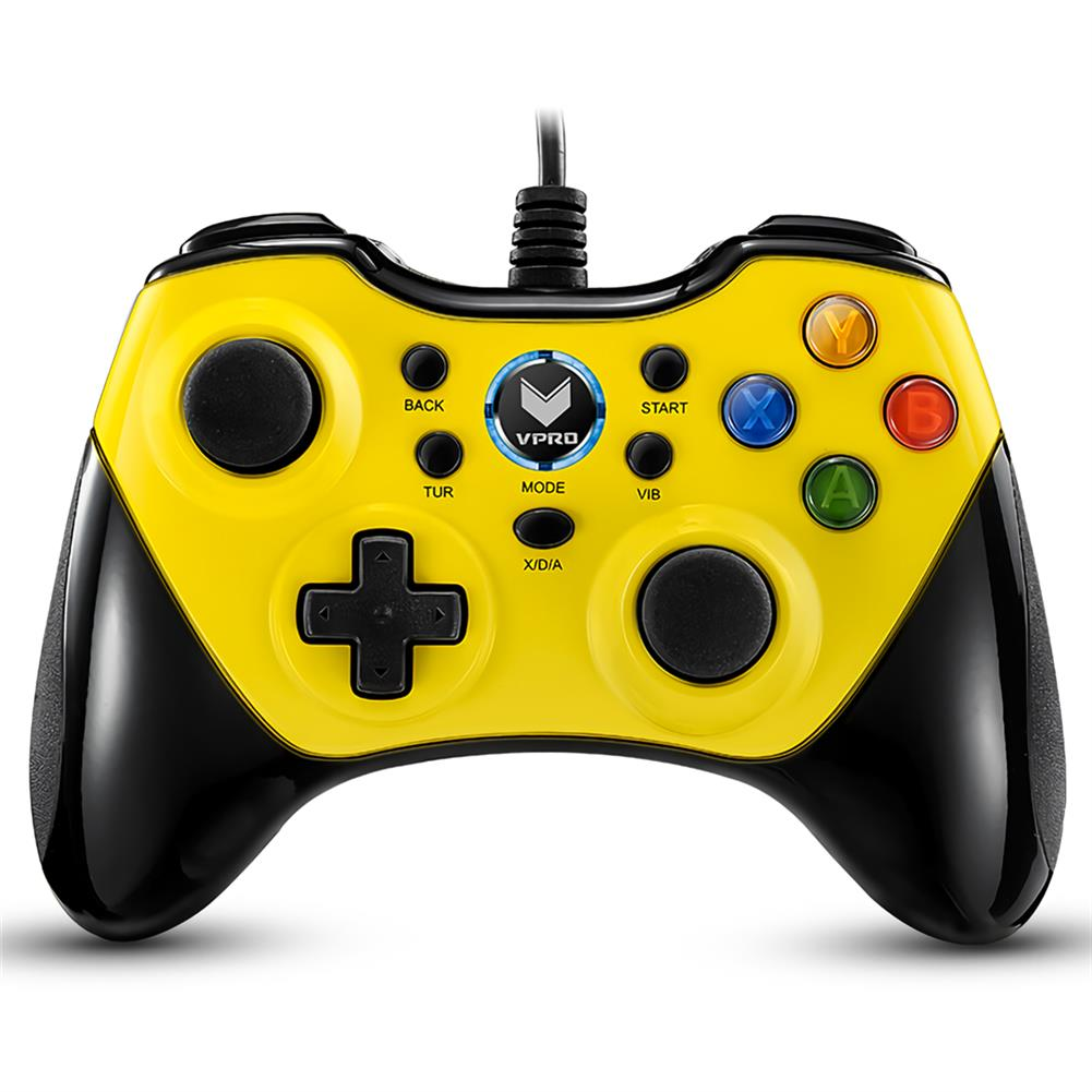 pc-gaming-controllers RAPOO V600 Wired Gaming Gamepad Universal Ergonomic Vibration Shock Computer Game Controller Gamepad HOB1718274 1