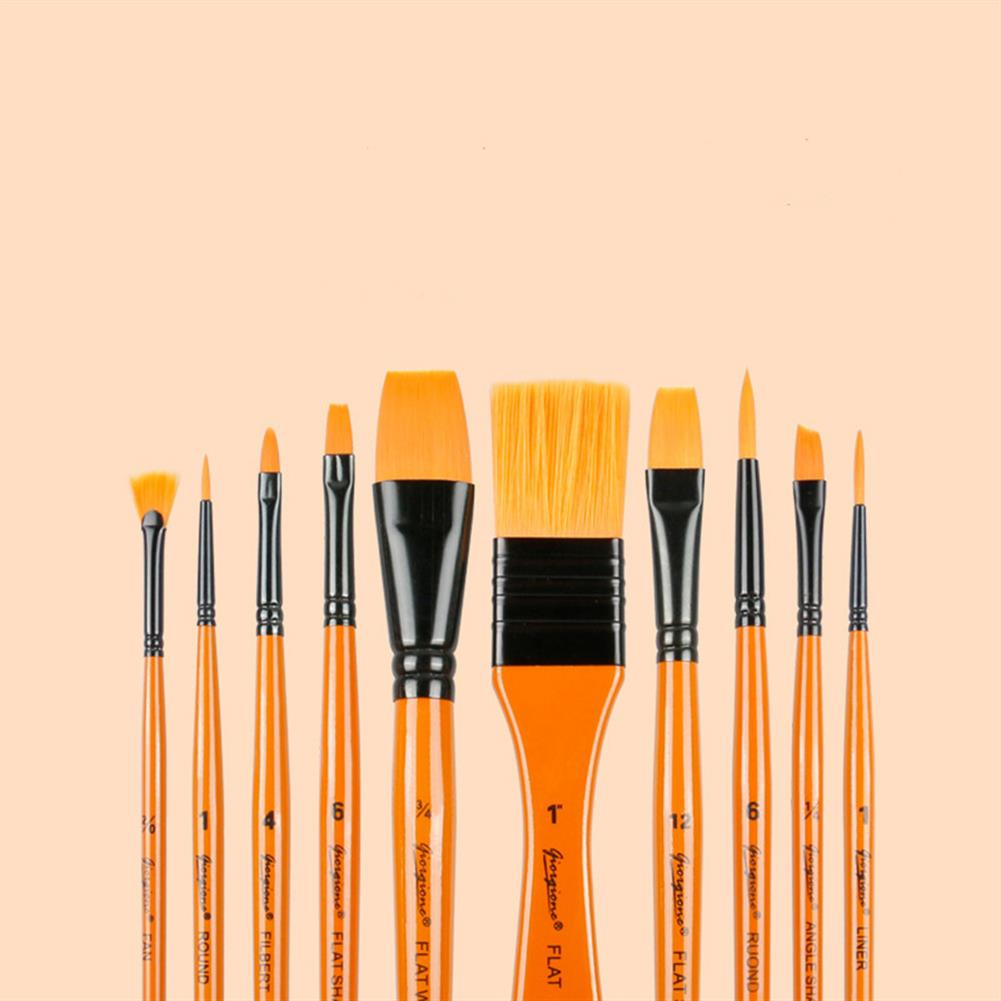 brush Giorgione 10 Pcs Painting Brush Set Nylon Hair Watercolor Pen Round Pointed Tip Brush with Bag Art for Student School Supplies HOB1718483 1 1