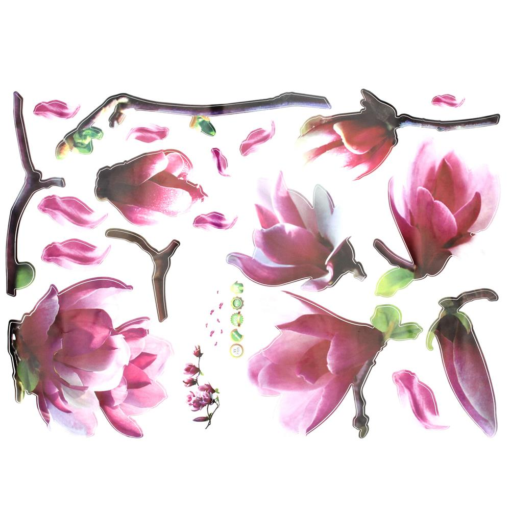 paper-notebooks Magnolia Flower Wall Sticker PVC Waterproof Removable Home office Decor Painting HOB1718991 1