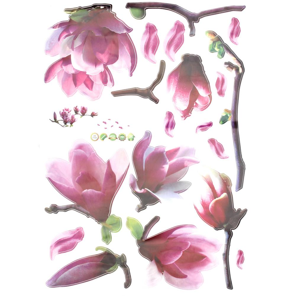 paper-notebooks Magnolia Flower Wall Sticker PVC Waterproof Removable Home office Decor Painting HOB1718991 1 1