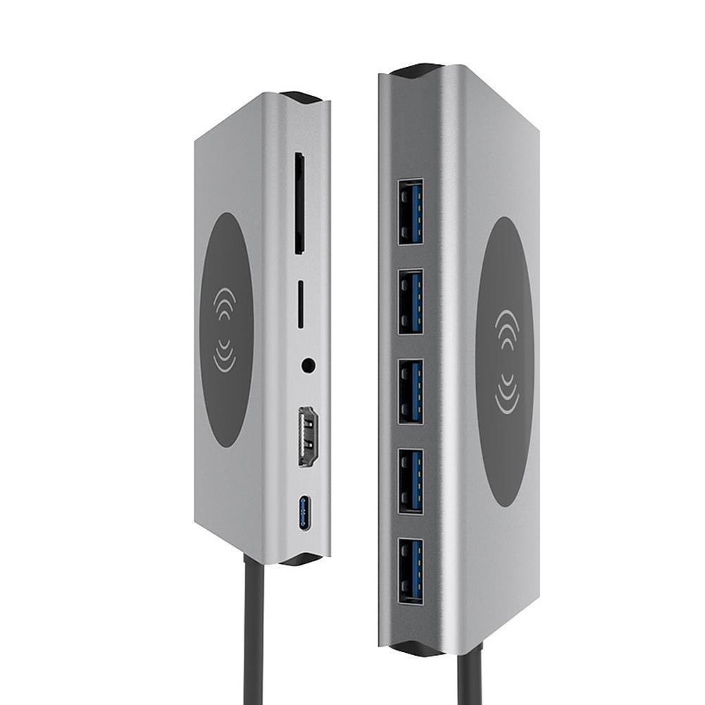 usb-hubs 13-in-1 USB-C Hub Wireless Charging Adapter Multi USB Type-C to USB3.0 VGA RJ45 HD 4K PD Audio 3.5mm TF SD Docking Station Memory Card Reader HOB1719760 1 1