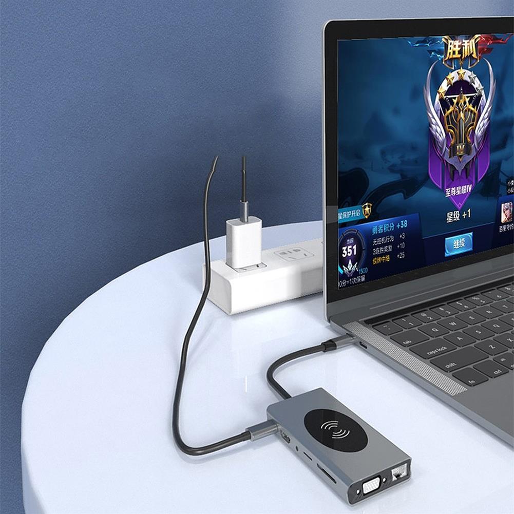 usb-hubs 13-in-1 USB-C Hub Wireless Charging Adapter Multi USB Type-C to USB3.0 VGA RJ45 HD 4K PD Audio 3.5mm TF SD Docking Station Memory Card Reader HOB1719760 3 1