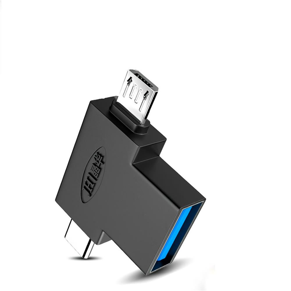 data-cables-connectors Jinghua S132 USB 3.0 OTG Adapter Type-C+Micro USB 2-in-one Converter Connector Data Cable for Mobile Apple Computer U Disk Mouse Keyboard HOB1720508 1
