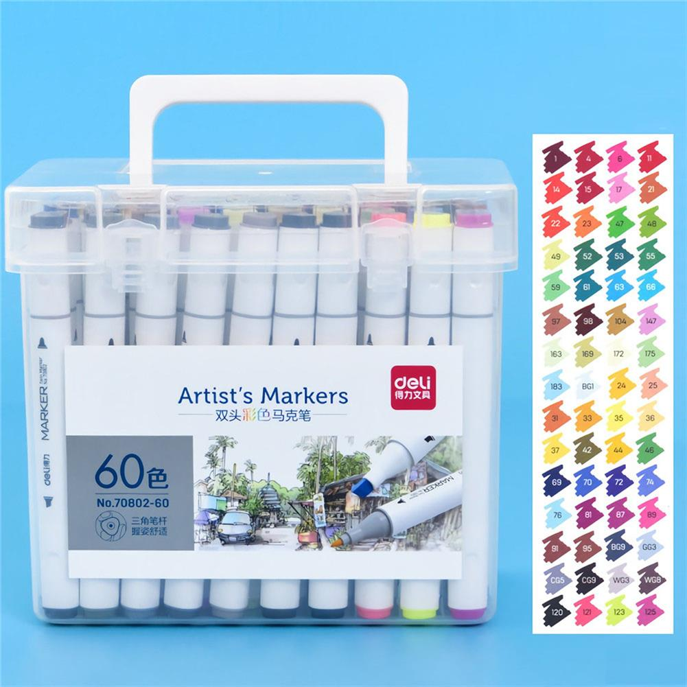 marker Deli 70802 24/36/48/60 Merker Pen Set Color Children's Alcohol Watercolor Pen Drawing Art Kit Stationery School Students Supplies HOB1720609 1