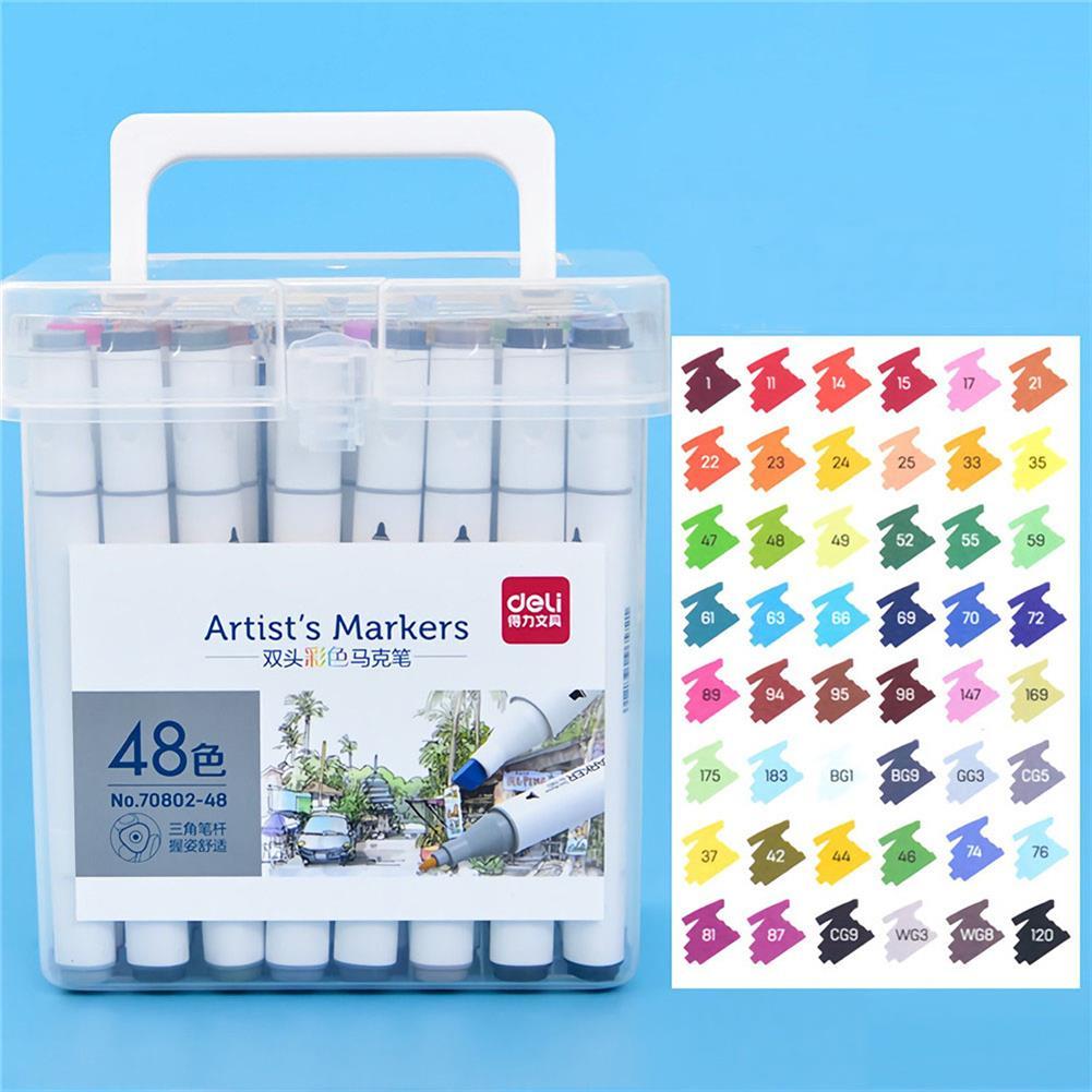 marker Deli 70802 24/36/48/60 Merker Pen Set Color Children's Alcohol Watercolor Pen Drawing Art Kit Stationery School Students Supplies HOB1720609 1 1