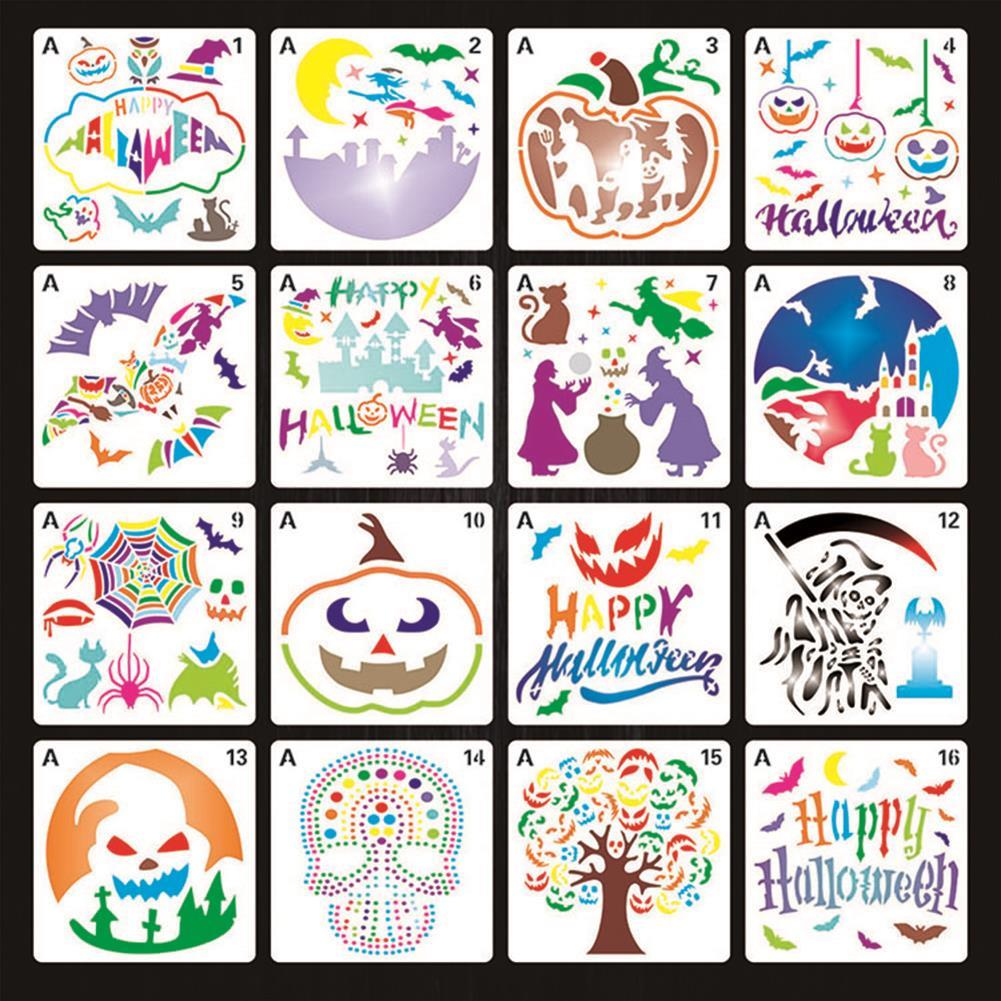 art-kit 16pcs Halloween Painting Template Painting Template DIY Graffiti Accessories Hollow Template Paint Art Design HOB1720898 1