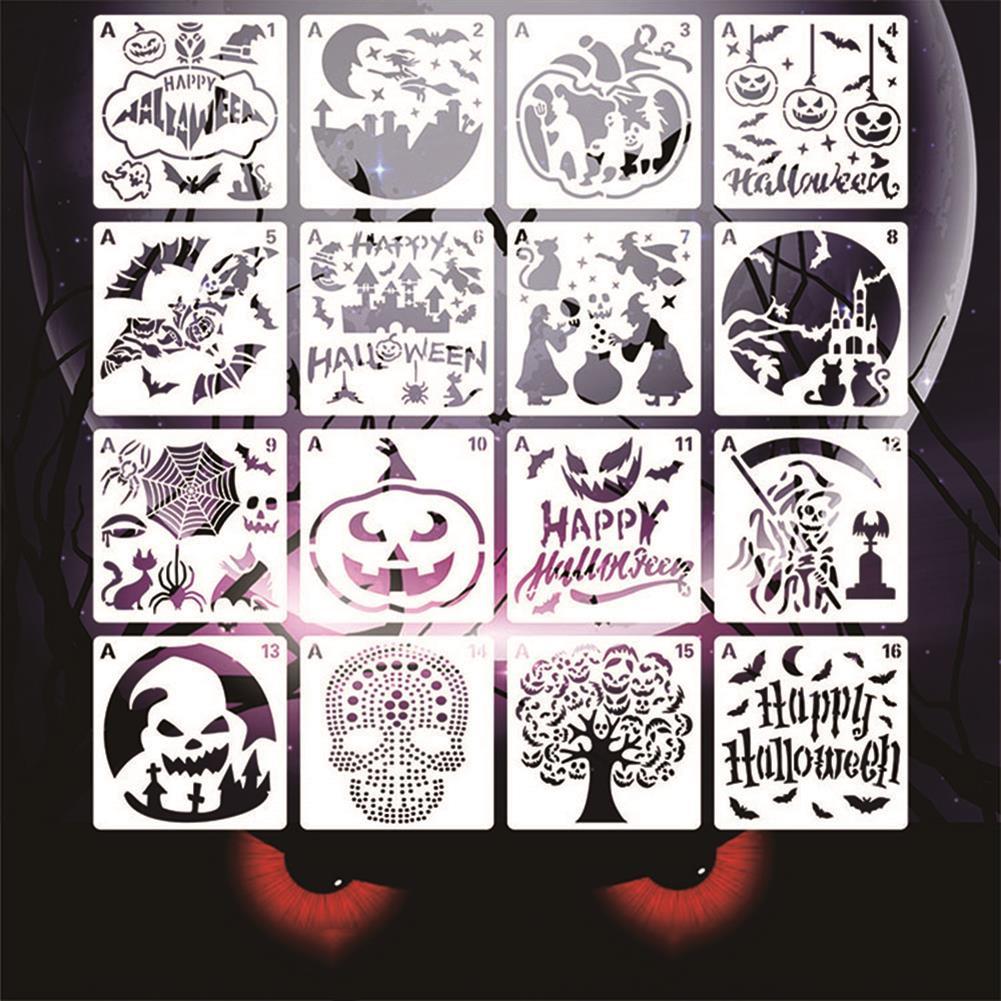 art-kit 16pcs Halloween Painting Template Painting Template DIY Graffiti Accessories Hollow Template Paint Art Design HOB1720898 3 1