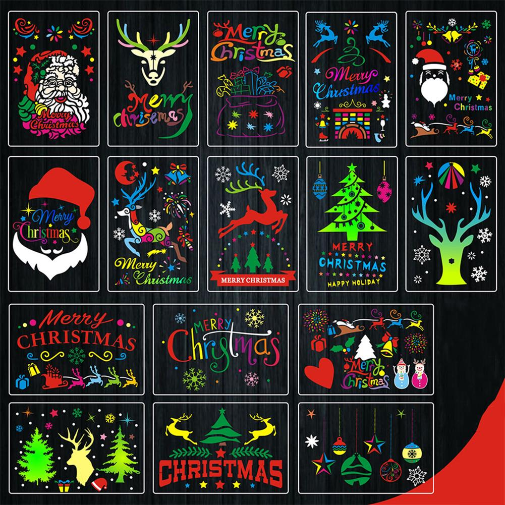 art-kit 16pcs DIY Christmas Hollowed Out Template Painting Set Template Decoration Wall Painting for Adults Kids HOB1720933 1