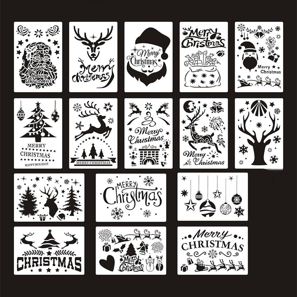 art-kit 16pcs DIY Christmas Hollowed Out Template Painting Set Template Decoration Wall Painting for Adults Kids HOB1720933 1 1