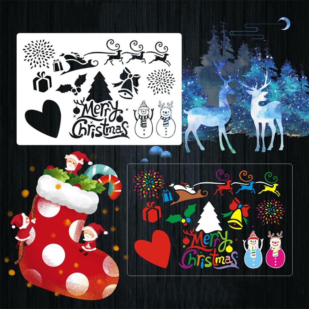 art-kit 16pcs DIY Christmas Hollowed Out Template Painting Set Template Decoration Wall Painting for Adults Kids HOB1720933 2 1