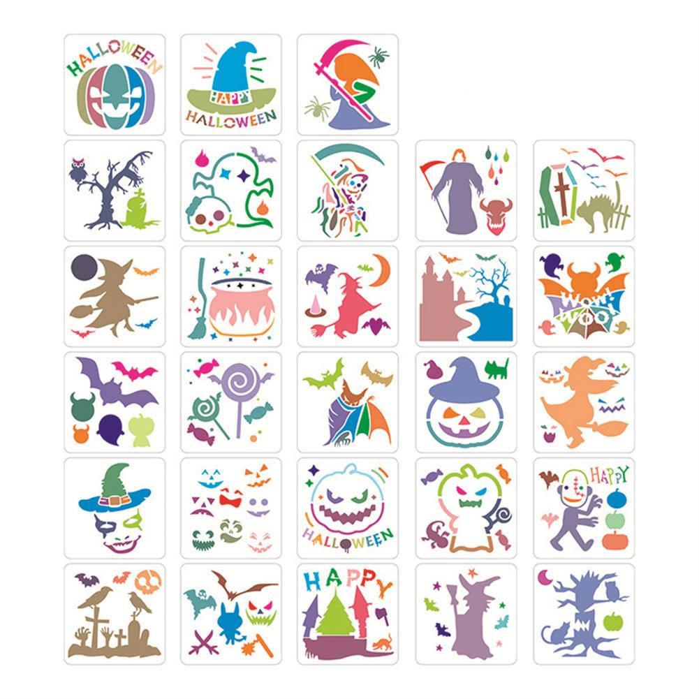 art-kit 28pcs DIY Halloween Hollowed Out Template Painting Set Happy Hollowed Drawing Decoration Wall Painting for Adults Kids HOB1720995 1