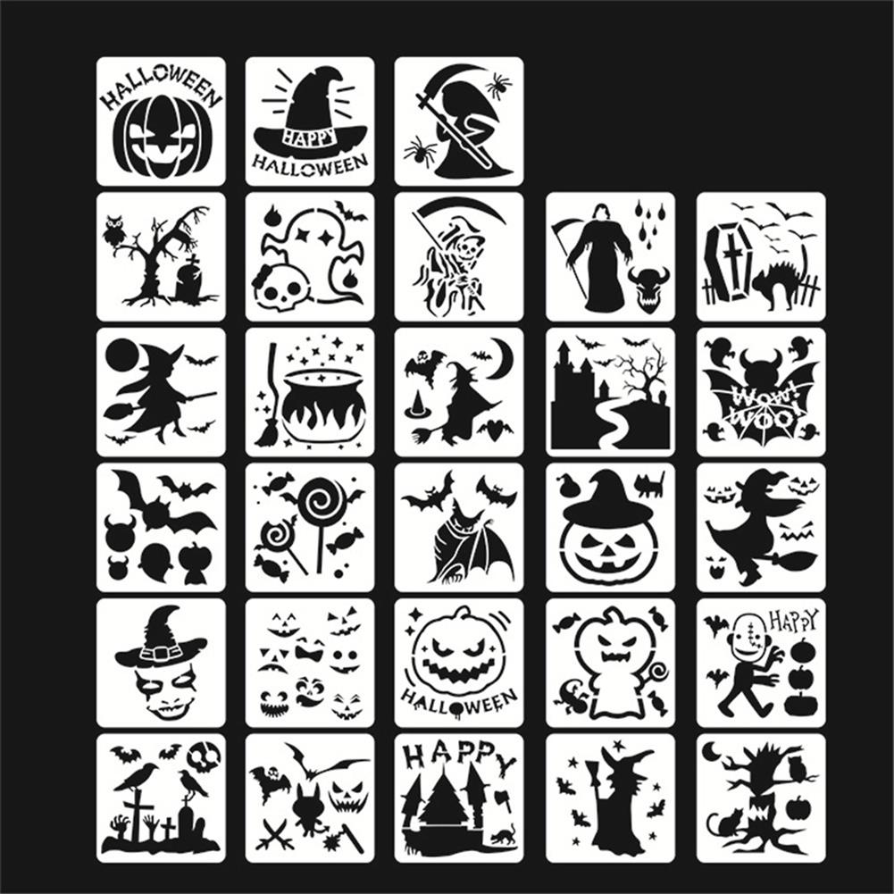 art-kit 28pcs DIY Halloween Hollowed Out Template Painting Set Happy Hollowed Drawing Decoration Wall Painting for Adults Kids HOB1720995 1 1