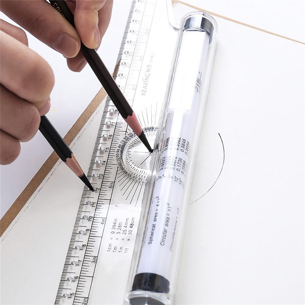 ruler 30CM Multi-purpose Rolling Ruler Plastic Protractor Scale Angle Ruler Stationery School Students Painting Sketch Supplies HOB1722156 3 1