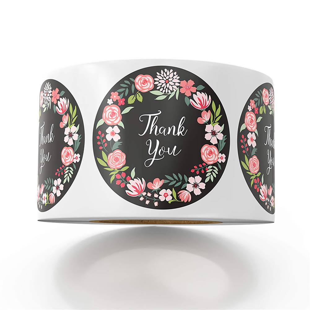 stationery-tape 500pcs/roll Cute Flower Thank You Series Round Sticker Seal Labes DIY Decorative Gifts Package Labels for School Stationery Supplies HOB1722246 1