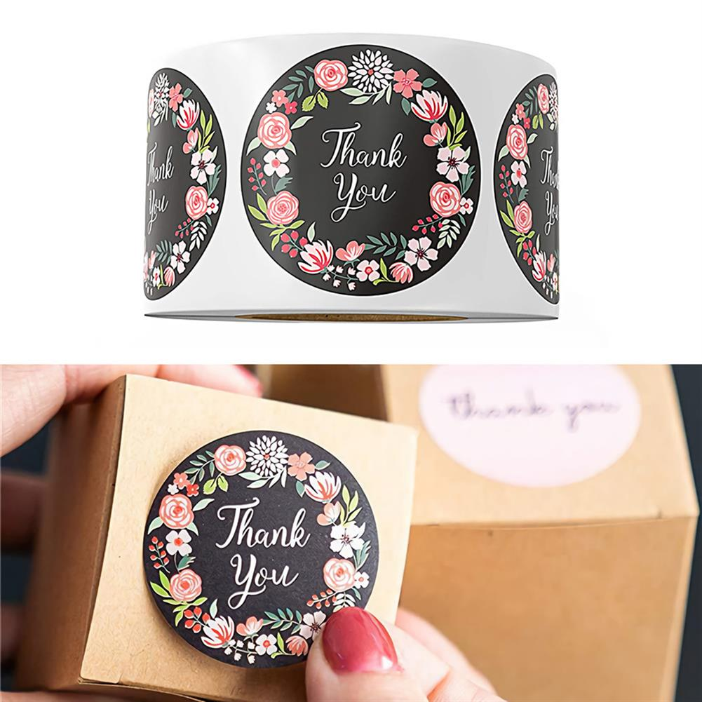 stationery-tape 500pcs/roll Cute Flower Thank You Series Round Sticker Seal Labes DIY Decorative Gifts Package Labels for School Stationery Supplies HOB1722246 2 1