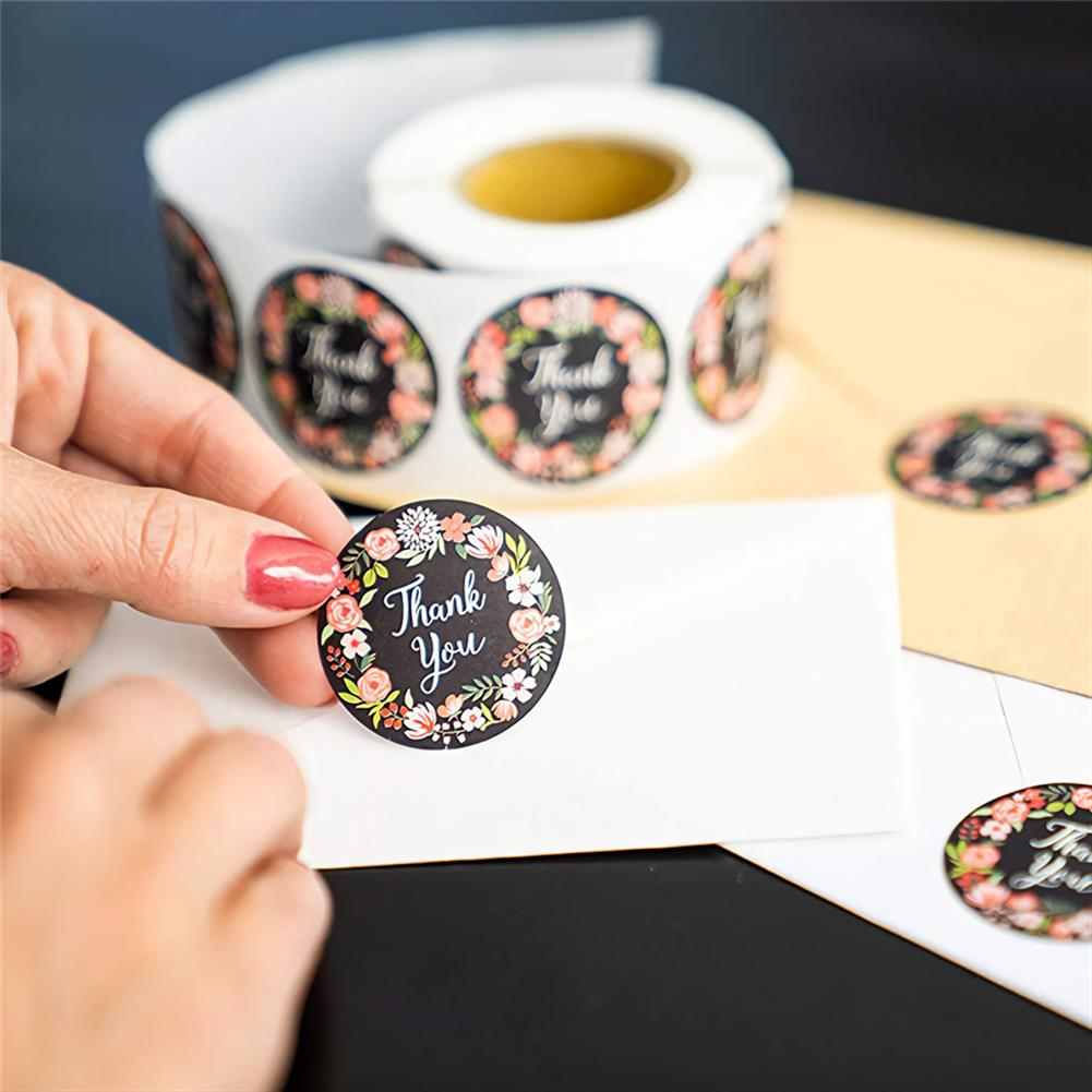 stationery-tape 500pcs/roll Cute Flower Thank You Series Round Sticker Seal Labes DIY Decorative Gifts Package Labels for School Stationery Supplies HOB1722246 3 1