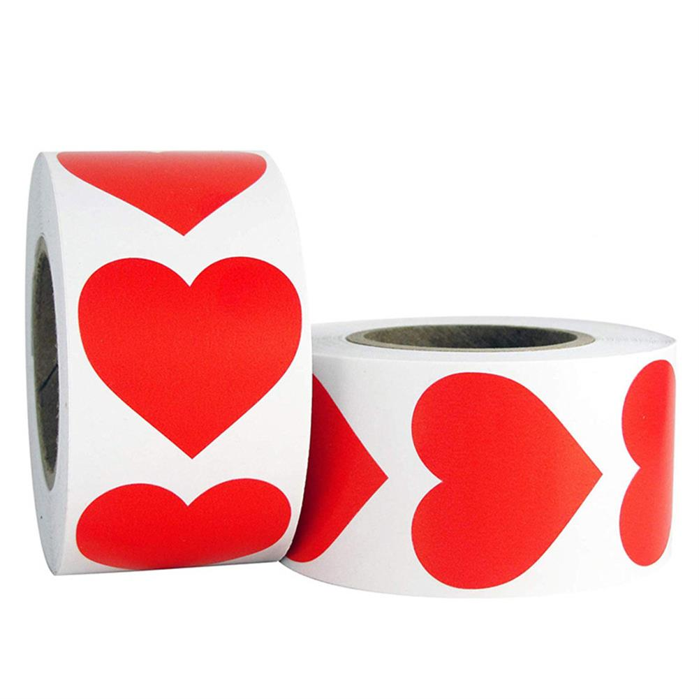 stationery-tape Heart Shape of Red Stickers Seal Labels 500Pcs/roll Labels Stickers Scrapbooking Package Wedding Decoration Stationery Sticker HOB1722250 1