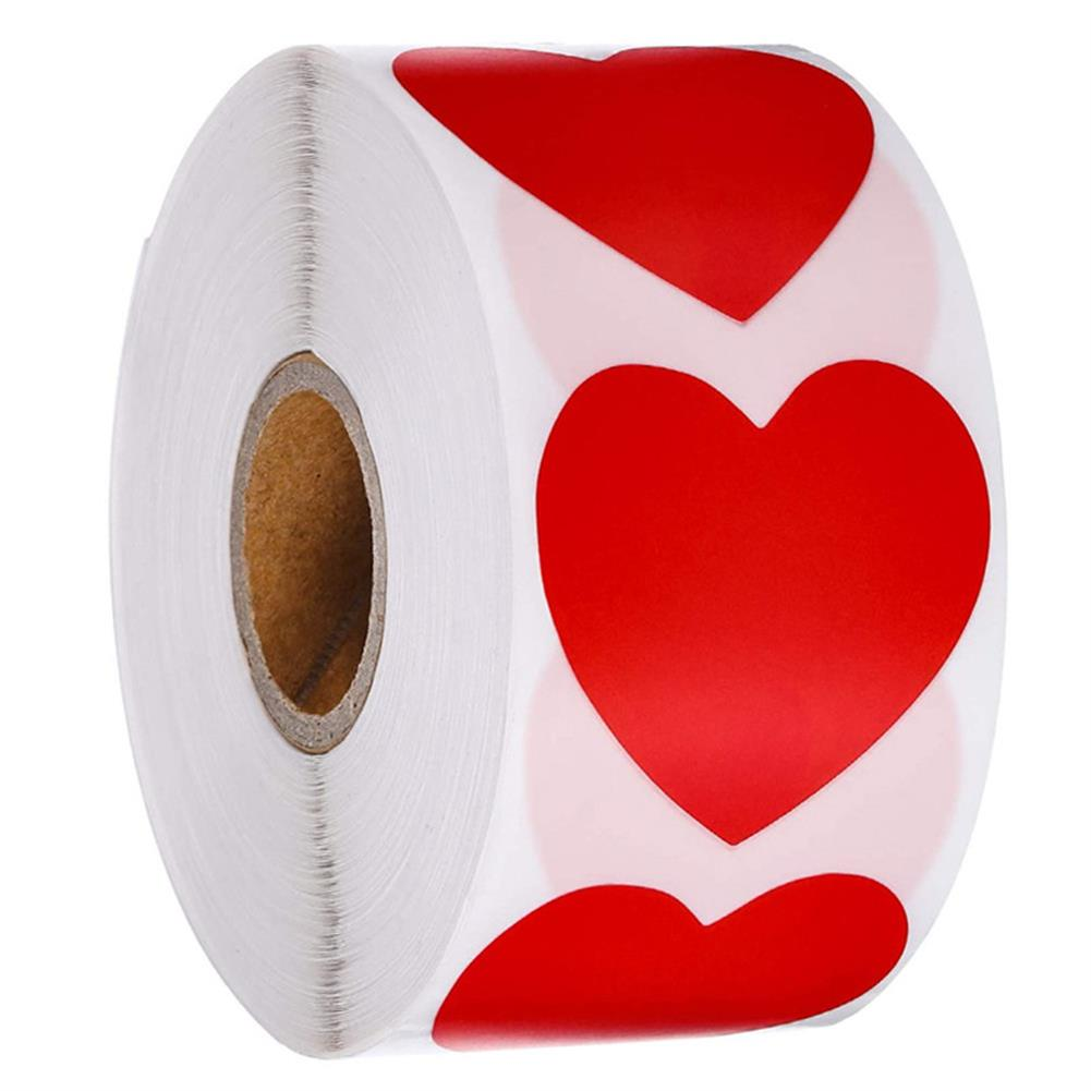 stationery-tape Heart Shape of Red Stickers Seal Labels 500Pcs/roll Labels Stickers Scrapbooking Package Wedding Decoration Stationery Sticker HOB1722250 1 1