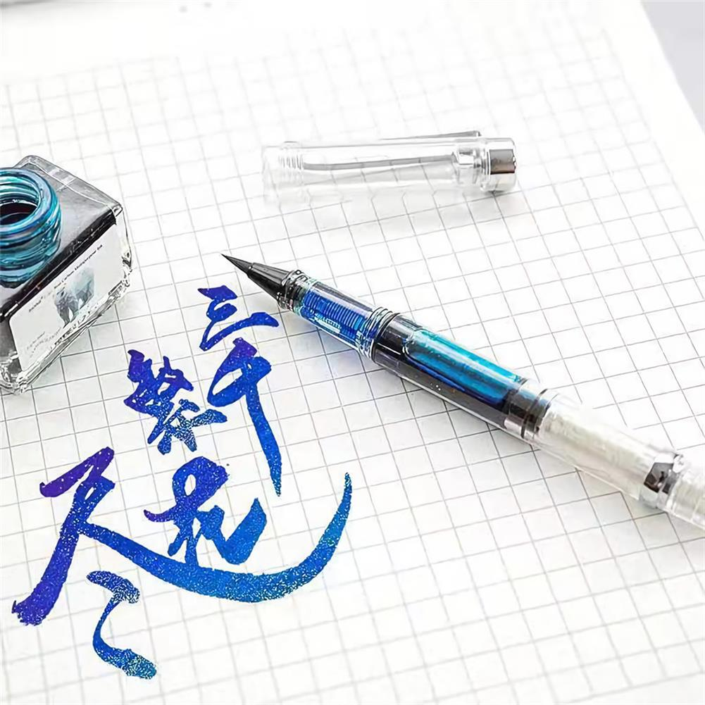 writing-brush Soft Brush Pen Art Writing ink Pen plastic Transparent White Refillable ink Fountain Pens Stationery School Student Supplies HOB1722772 2 1