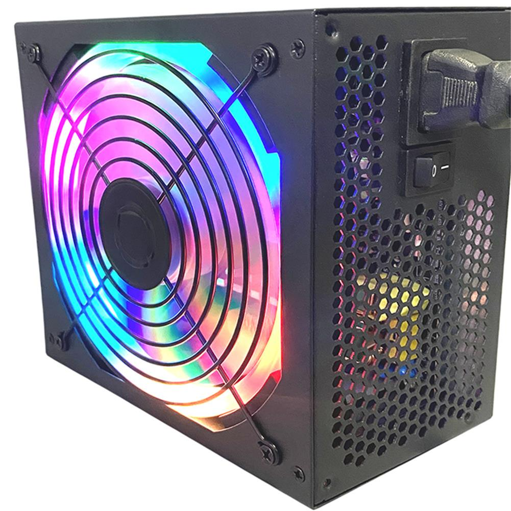 pc-power-supplies 600W RGB PC Power Supply Multicolor Fan 8 Pin ATX 12V Energy Saving Mute Computer Power Supply Desktop Gaming Power HOB1723028 1 1