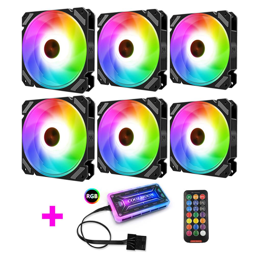 fans-cooling Coolmoon 6PCS 120mm RGB PC Fans Control Music Rhythm Monochromatic Light Adjustable Cooling Fan with the Remote Control HOB1723734 1