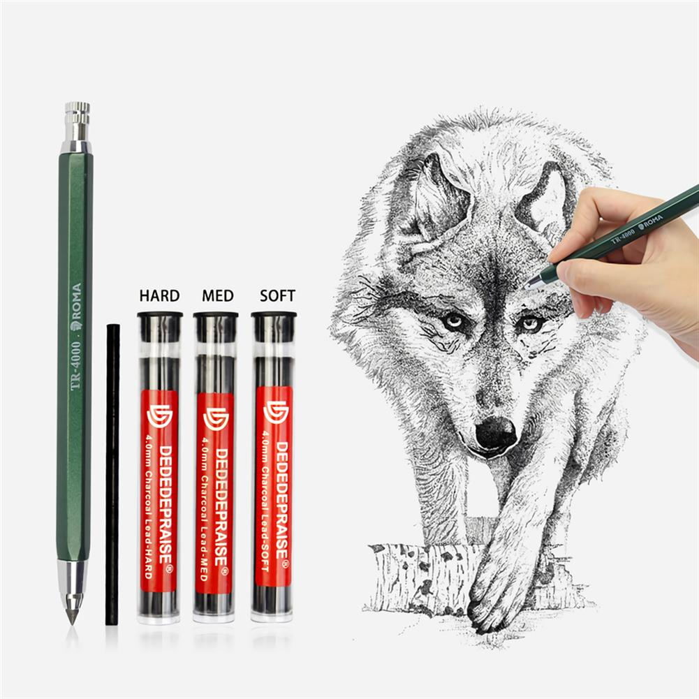pencil 4mm Press Mechanical Charcoal Pencil Automatic Pencil for Sketch Painting School office Supply Stationery Kid Drawing HOB1724210 1