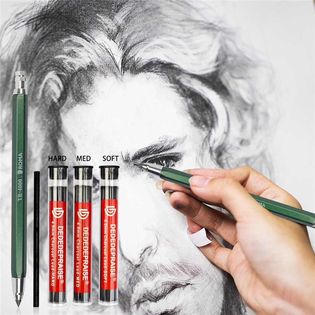 pencil 4mm Press Mechanical Charcoal Pencil Automatic Pencil for Sketch Painting School office Supply Stationery Kid Drawing HOB1724210 1 1