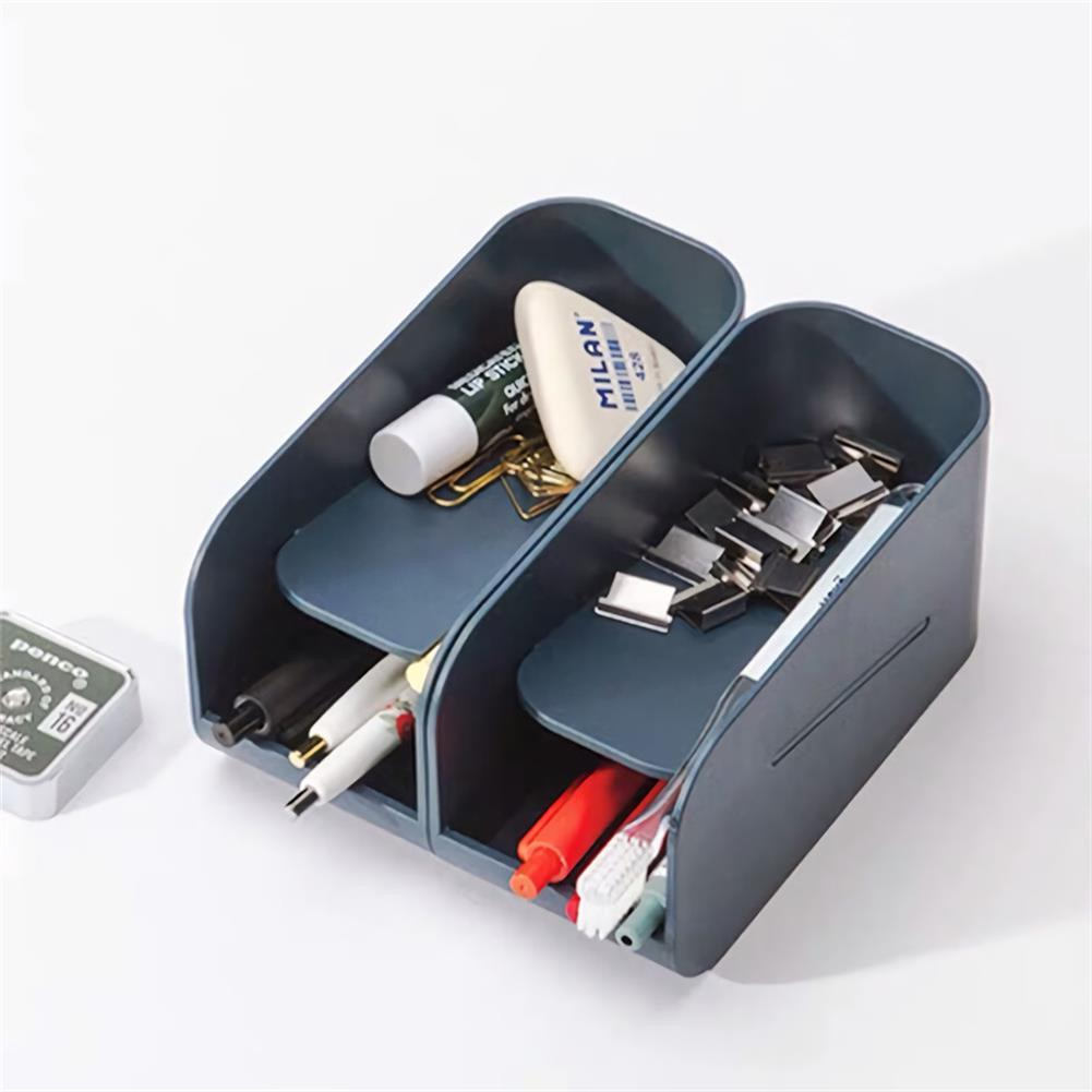 pen-holders, filing Creative Double Layer Magnetic Pen Holder Desk Plastic Organizer Storage Box Stationery School office Accessories Supplies HOB1724392 1 1