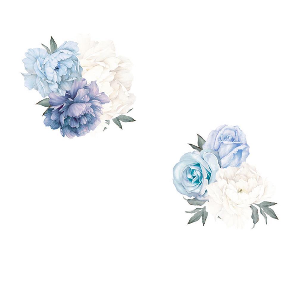 paper-notebooks Blue Peony Rose Flowers Wall Sticker Mural Modern Girls Room Decor Art Nursery Decals Kids Room Home Decor Gift HOB1724778 1
