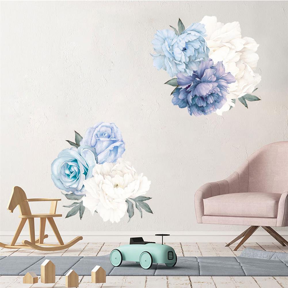 paper-notebooks Blue Peony Rose Flowers Wall Sticker Mural Modern Girls Room Decor Art Nursery Decals Kids Room Home Decor Gift HOB1724778 2 1
