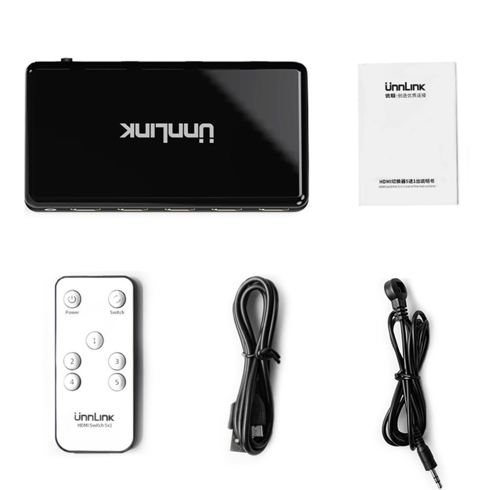 video-cables-connectors Unnlink HD Switch 5 Ports HD2.0 Adapter Converter UHD4K@60Hz HDCP2.2 HDR 5 in 1 Out Auto Switch Remote Free Power HOB1725010 1 1