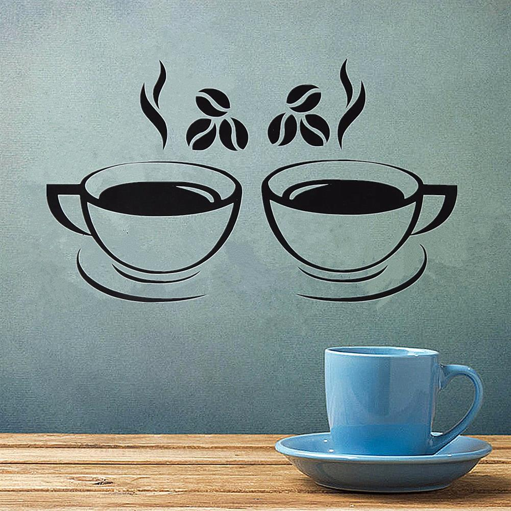 paper-notebooks Double Coffee Cups Wall Stickers Waterproof Vinyl Adhesive Art Wall Decals Coffee Shop Kitchen Home office Decorations Accessories HOB1725412 1